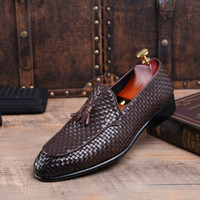 Wholesale Carved Wedge Shoes - Fashion Italian Men Shoes Genuine Leather Mens Dress Shoes Sales Carved Designer Wedding Male Oxford Shoes Men Flats