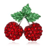 Wholesale Wholesale Cherry Scarf - Wholesale- Crystal Rhinestone Cherry Brooch Pin Green Enamel Leaves Women Garment Fruit Fashion Jewelry Scarf Clip