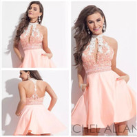 Wholesale Back Out Homecoming Dress - Light Pink Mini Short Homecoming Dresses 2017 New Arrival Halter Lace Appliqued Beaded Sexy Backless Hollow Out With Pockets Cocktail Gowns
