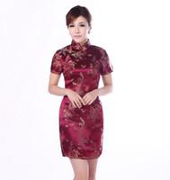 Wholesale Cheongsam Vestido - Wholesale- Burgundy Traditional Chinese Classic Dress Women's Satin Cheongsam New Summer Mini Qipao Size M L XL XXL Mujere Vestido Jy4061