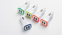 Square Rocket Design Colorful LED light 5V Real 1A Dual USB Car Charger adapter For Smart phone 100PCS / LOT