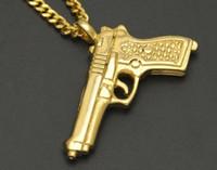 """Wholesale Pistol Desert Eagle - hot sale newest Hip Hop Rock Gold Color Titanium Stainless Steel Desert Eagle Pistol Gun Pendants Necklaces 24"""" Cuban Chain for Men Jewelry"""