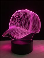 Gorra de béisbol 3D LED Lámpara de escritorio Touch Night Light 7 colores que cambian Sleeping Lampe Light Acrílico 3D Hat Lámpara de mesa para Sports Hat