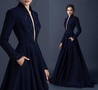 Wholesale High End Prom Gowns - High-End Custom 2017 New Shelves Evening Dresses Velvet Sequins Decals Deep V A Satin Dress Side Pocket Buttons Black Long Skirt Prom Gowns