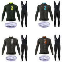 Wholesale Long Bicycle - 2017 New! Ale Team Men's Winter Thermal Fleece Cycling Jersey Set. Long Sleeve Bicycle Cycling Clothing Bike Wear Outdoor Sportswear Gel Pad