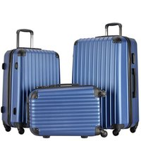 Wholesale Wholesale Carry Luggage - 3 Piece Lightweight Carry on Luggage Set wheel spinner Suitcase (20 + 24 + 28 inches) Travel Suitcase ABS School Rolling Trolley Navy blue