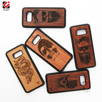 Wholesale Skull Phone Accessories - Skull Case for Samsung Galaxy s8 s8 plus Wood Original Cell Mobile Phone Case Cover for Samsung s8plus Accessories Best Supplier in Stock