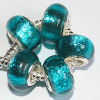Wholesale Foil Beads - 50pcs Mix 925 Sterling Silver Green Foil Handmade Murano Lampwork Glass Charm Beads Big Hole For Pandora European Jewelry Bracelet Jewelry