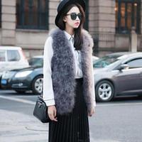 Wholesale Ostrich Vests - 2017 new Women winter encryption 100% natural ostrich feathers turkey feather fur vest vest fur coat Fur Coat