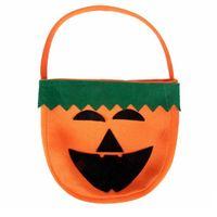 Wholesale Candy Kids Favors Bags - Halloween Gift Bag Dress Up Prop Flannel Decoration Handbag Candy Pumpkin Printed Children Kid Decorative Decor Party Favors Tote Basket
