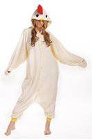 Wholesale Chicken Costume White - White Chicken Kigurumi Pajamas Animal Suits Cosplay Outfit Halloween Costume Adult Garment Cartoon Jumpsuits Unisex Animal Sleepwear