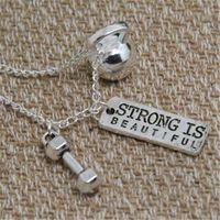 crossfit jóias venda por atacado-12 pçs / lote KETTLEBELL Colar forte é bonito Charme Exercício Charme Ginásio Pingente de Levantamento de Peso Crossfit Jóias