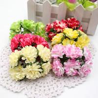 Wholesale Wholesale Mini Paper Flowers - Wholesale- 12pcs lot 3cm Valentine Gift MIni Artificial Paper Rose Flower Bouquet Wedding Decor Scrapbooking