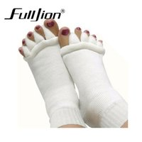 Wholesale Massage Socks Health - Wholesale- Hot 1 Pair Massage Five Toe Separator Socks Foot Alignment Pain Relief Soft Health Men Women footcare socks