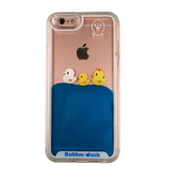 Wholesale Duck Rubber Cases - Ouhoe phone shell Cute Swimming Rubber Duck 3D Liquid Phone Case for iPhone 6 6s 7 7s Yellow Duck Mobile phone cover