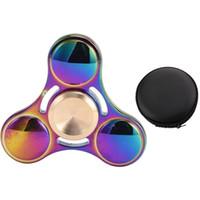 Wholesale Rainbow Choice - Rainbow Spinner EDC Hand Spinner Fidget Toy Good Choice For decompression anxiety Finger Toys rainbow color aluminum DHL OTH394