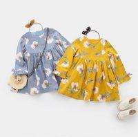 Wholesale Lolita Clothing Wholesaler - 2017 Autumn New Girls Princess Dresses Floral Loose Casual Long Sleeve Dress Children Clothing 3-7Y AZ1041