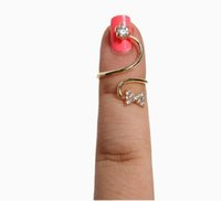 Wholesale Adjustable Ring Nail - New Women Hot Gold Plated Crystals Flower Bowknot Hello Kitty Adjustable Nail Rings Knuckle Ring