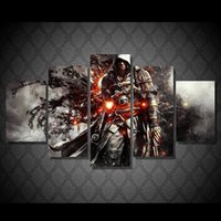 Wholesale Game Room Pictures - Home Living room Wall decor Assassins Creed Game Poster Painting 5 Panel No frame Printed Canvas Painting