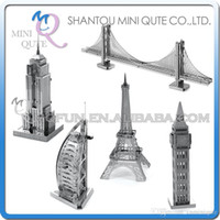 Wholesale Empire State Building 3d - DHL Free Shipping Piece Fun 3D World architecture Empire State building Big Ben Eiffel Tower Metal Puzzle adult models educational toy