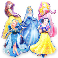 Wholesale Aurora Models - 10pcs lot 5 Designs Cartoon Princess Helium Foil Balloons Girl Baby Birthday Party Decorations Belle Aurora Cinderella Snow White Elsa