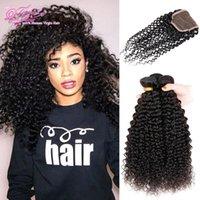 Wholesale Curly Pcs Closure - Brazilian Curly Hair With Closure Brazilian Kinky Curly Hair With Closure 3 Pcs 300g Curly Human Hair With Closure Peruvian Malaysian