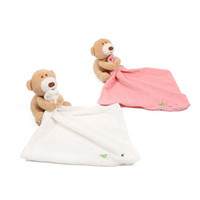 Al por mayor- Baby Kids Comforter Cute Bear Towels Smooth Soft Toy felpa de peluche lavable manta