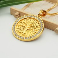 Wholesale Tree Pendant For Men - crystal tree round pendant necklace hip hop gold plated necklaces with chain jewelry for men or women item number hps040