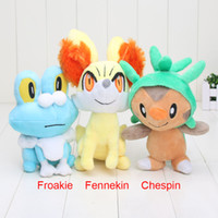 Wholesale Chespin Plush - 17cm -24cm New Pikachu Pocket Center XY Series Chespin Fennekin Froakie Plush Doll and Toys Christmas Gifts