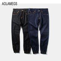 Wholesale Mens Trousers Hip Hop - Wholesale-Aolamegs Mens Jeans Jogger Pants Fashion Classic Hip Hop Biker Denim Jean Pants Cotton Casual Washed Trousers With Side Zipper