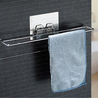 Wholesale Clothes Hanging Shelf - Self Adhesive Bathroom Towel Bar Brushed Stainless Steel Bath Wall Shelf Rack Hanging Towel Stick On Sticky Hanger Contemporary Style.