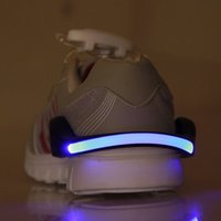 Wholesale wholesale safety shoes - Wholesale- LED Luminous Shoe Clip Light Night Safety Warning LED Bright Flash Light For Running Cycling Bike Blue, Green, White, Red,Pink