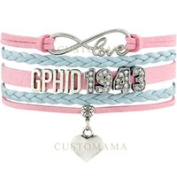 Wholesale Delta Phi - Custom-Infinity Love GPhiD 1943 Heart Charm Bracelet Pink Blue Rhinestone Gamma Phi Delta Leather Adjustable Bracelet Bangles-Drop Shipping