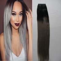 grey tape Canada - Wholesale- 8A 1B Grey Two Tone Ombre Human Tape Hair Extensions Skin Weft Tape Hair Extensions 100g Silver Grey Tape Extension Ombre Hair