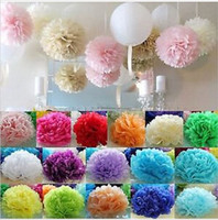 Wholesale Colorful Tissue Paper Flower Ball - Wholesale-10Pcs 4 Inch 10cm Colorful Tissue Paper Pom Poms Flower Balls Wedding Birthday Party Supplies Outdoor Decoration Multicolor 200