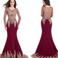 Wholesale robes longue sexy for sale - Cheap Long Sleeves In Stock Scoop Sheer Neckline Mermaid Gold Lace Appliques Burgundy Evening Prom Dresses Robe de Soiree Longue Party Gown