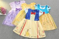 Wholesale Cartoon Character Costume Princess - Princess Belle Girl dress children Halloween costumes Cartoon Princess Dress Snow White Beauty And the Beast Birthd Party Clothing