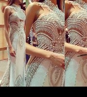 Wholesale Sexy Nude Beaded Prom Dress - New Style Mermaid prom Dresses 2017 Evening Prom Dresses With Crystal Lace Appliques Sheer Neck Sexy Bridal Party Red Carpet Custom Made