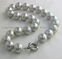 """Wholesale south china sea black pearls - 14mm Gray South Sea Shell Pearl Round Gemstone Necklace AAA Grade 18"""""""