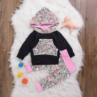Wholesale Toddler Girl Floral Long Sleeve - Mikrdoo Fashion Baby Girl Clothes Kids Long Sleeve Rose Flower Patchwork Hoody Pants Cotton Floral Striped Clothing Toddler Infant Lovely Su