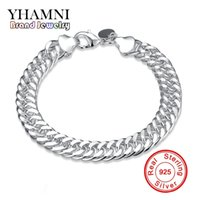 Wholesale Whipping Rope - YHAMNI Luxury Top Quality Classy 10mm Charm Whip Rope Silver Bangles For Women Men Fashion Unisex Jewelry H102