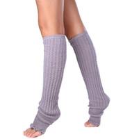 Wholesale Leg Warmer Boot Socks Gray - Wholesale-2015 Womens Winter Warm Leg Warmers Socks Boot Cover Boot Cuff Knitted Knee High Free Shipping