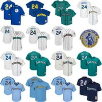 Wholesale Cheap Ladies Shorts - 2017 Mens Lady Kid Seattle Mariners 24 Ken Griffey Jr Jerseys Cream Green Blue Navy Royal White Cooperstown Thrownback Cheap Baseball Jersey