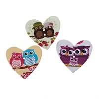 Wholesale Wooden Owl Buttons - hot sale pattern printed owl wooden buttons 3.5x3.3cm-50pcs wholesale buttons toys wood button jewelry