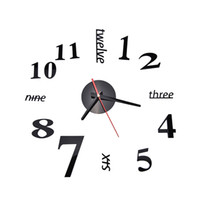 Wholesale Stickers Watches - Wholesale-Fashion Quartz Clocks Watches 3D Real Big Wall Clock Rushed Mirror Sticker Diy Living Room Decor