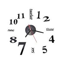 Wholesale Diy 3d Mirror Wall Clock - Wholesale-Fashion Quartz Clocks Watches 3D Real Big Wall Clock Rushed Mirror Sticker Diy Living Room Decor