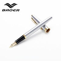 Wholesale Loose Gold Metal - Baoer 388 Black Silver Metal Fountain Pen 18K Nib Medium Gold Trim Arrow Clip Office School Supplie
