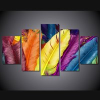 Wholesale Group Oil Paintings Design - 5 Pcs Set Framed HD Printed colorful feathers design Group Painting room decor print poster picture canvas Free shipping ny-559