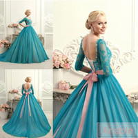 Wholesale Teal Bows - 2016 Plus Size New Sexy Teal Turquoise Scoop Lace Ball Gown Quinceanera Dresses Lace Up Half Sleeve Bow Fashion Colorful Prom Gowns