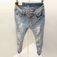 Wholesale holes jeans for female for sale - Group buy Women Ripped Jeans Holes Cool Slim Fit Long Trousers Denim Blue Vintage Clothing for Female Pants